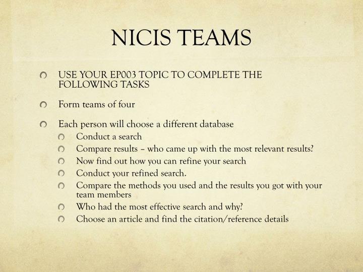 NICIS TEAMS
