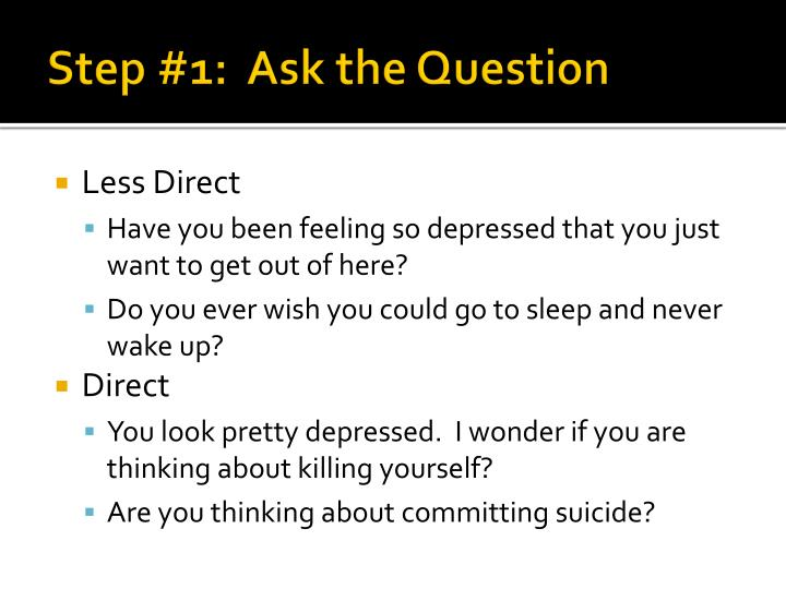 Step #1:  Ask the Question