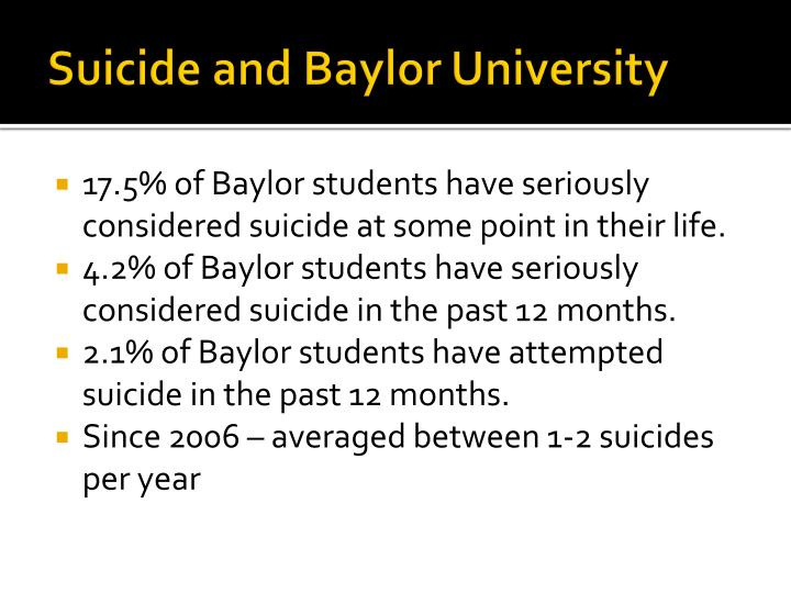 Suicide and Baylor University