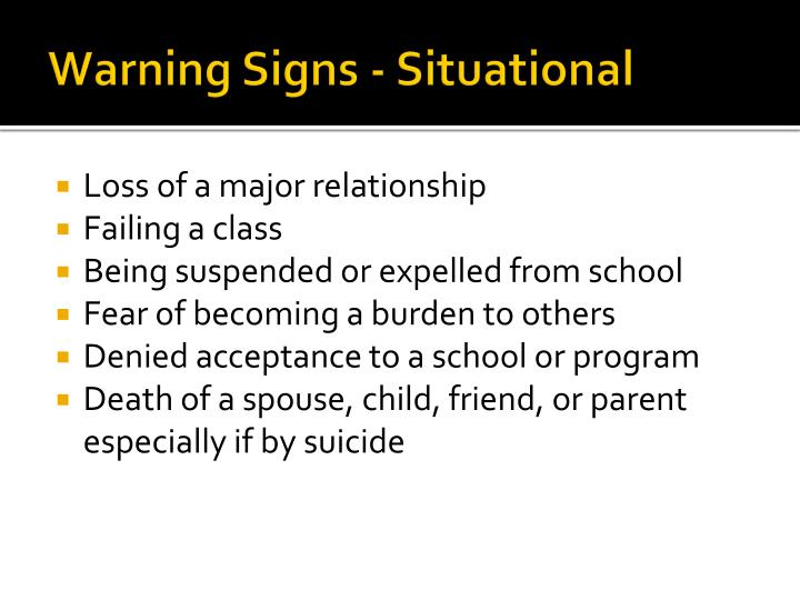 Warning Signs - Situational
