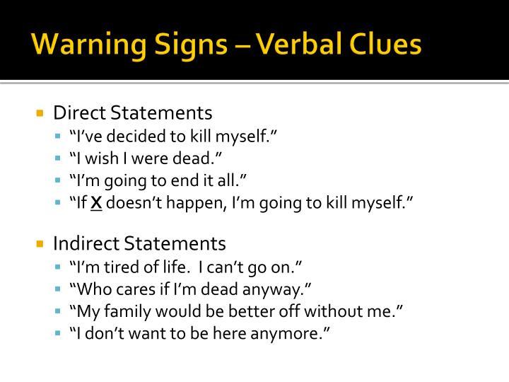 Warning Signs – Verbal Clues