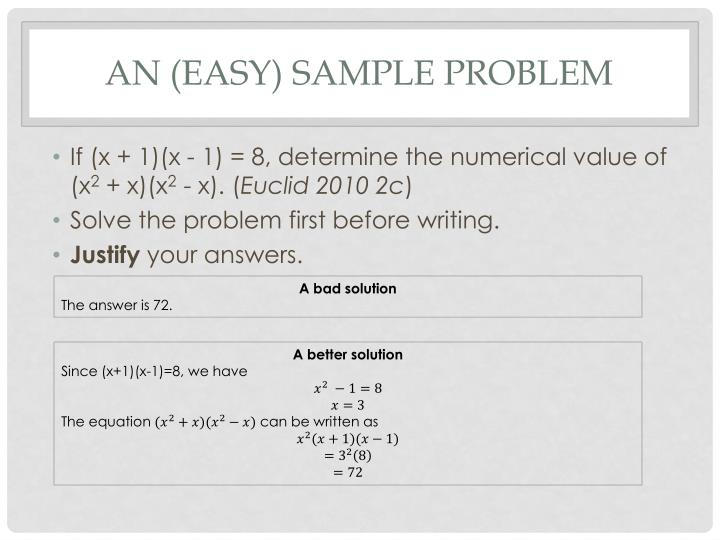 An (easy) sample problem