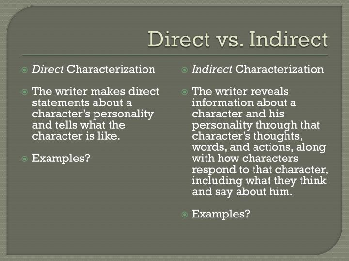 Ppt Direct Vs Indirect Characterization Powerpoint Presentation