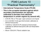 p340 lecture 10 practical thermometry