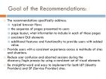 goal of the recommendations
