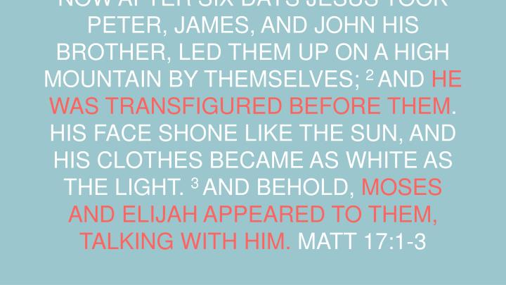 NOW AFTER SIX DAYS JESUS TOOK PETER, JAMES, AND JOHN HIS BROTHER, LED THEM UP ON A HIGH MOUNTAIN BY THEMSELVES;