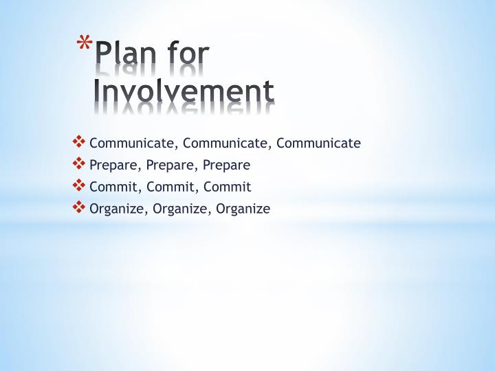 Plan for Involvement