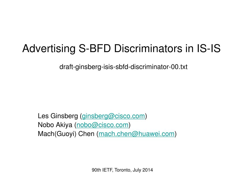 PPT - Advertising S-BFD Discriminators in IS-IS draft