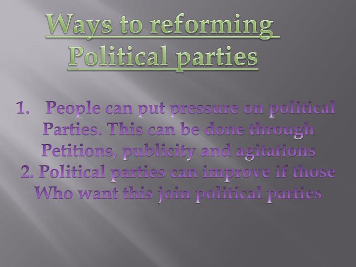 Ways to reforming