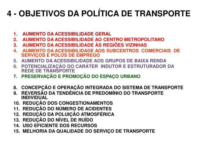 4 - OBJETIVOS DA POLÍTICA DE TRANSPORTE