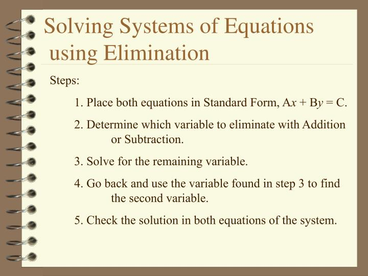 Ppt 7 3 Solving Systems Of Equations Using Elimination Powerpoint
