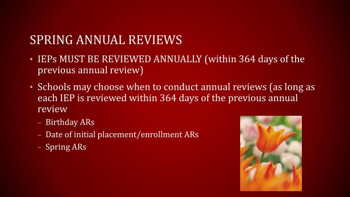 Spring Annual reviews
