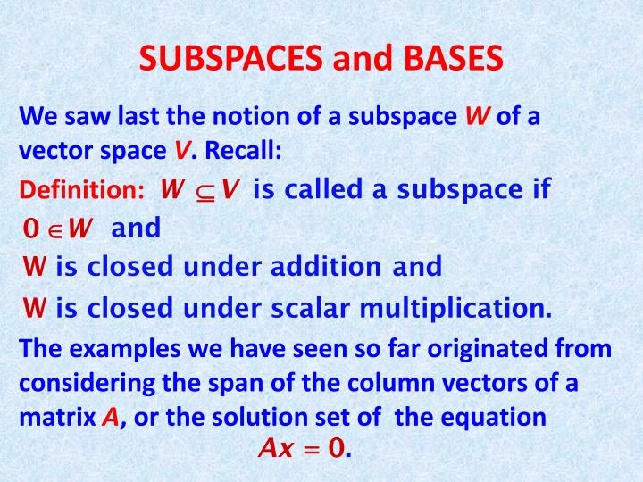Subspaces and bases