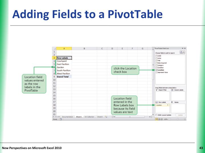Adding Fields to a PivotTable