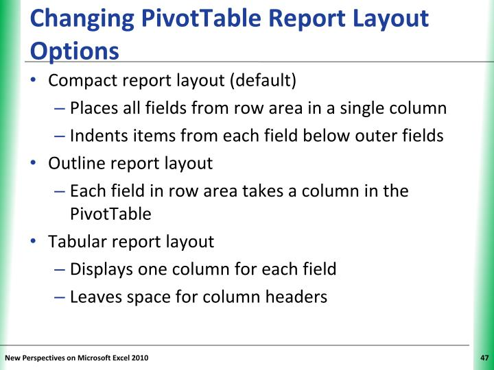 Changing PivotTable Report Layout Options