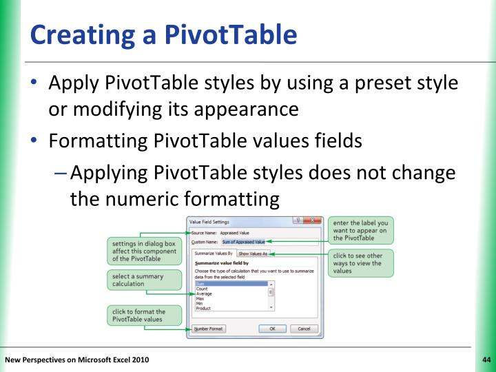 Creating a PivotTable