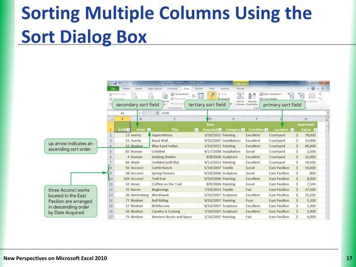 Sorting Multiple Columns Using the Sort Dialog Box