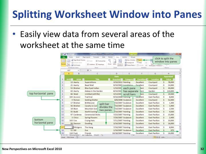 Splitting Worksheet Window into Panes