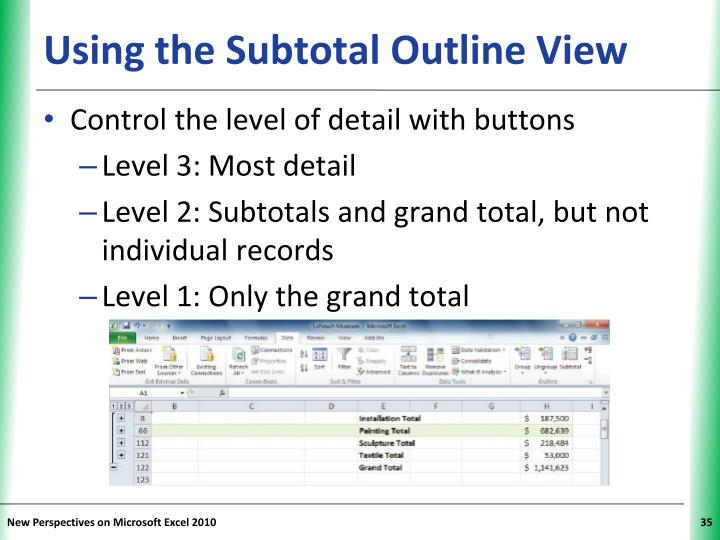 Using the Subtotal Outline View