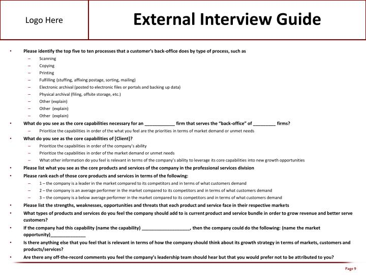 External Interview Guide