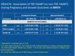results association of tdf haart vs non tdf haart during pregnancy and growth outcomes at birth