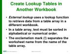 create lookup tables in another workbook