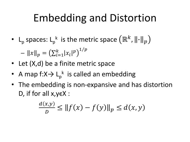 Embedding and distortion