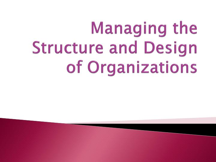 managing the structure and design of organizations n.
