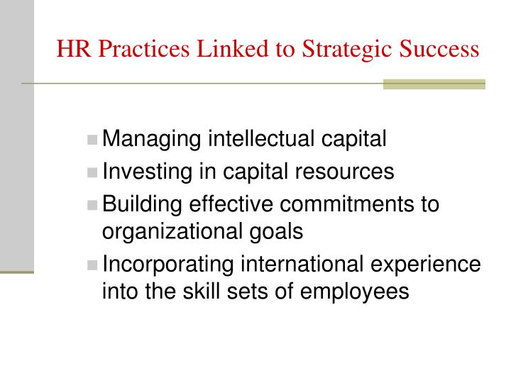 HR Practices Linked to Strategic Success