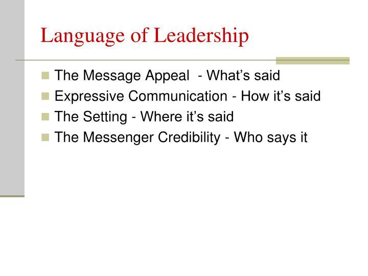 Language of Leadership