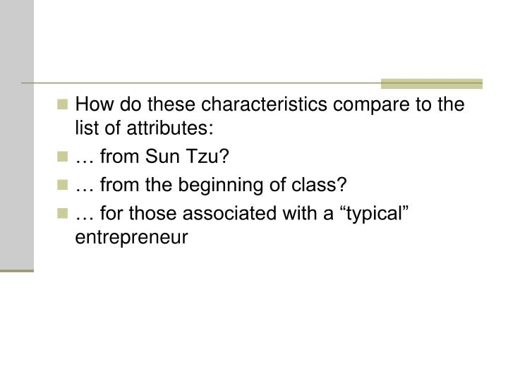 How do these characteristics compare to the list of attributes: