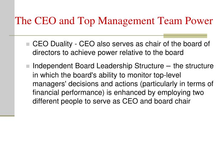 The CEO and Top Management Team Power