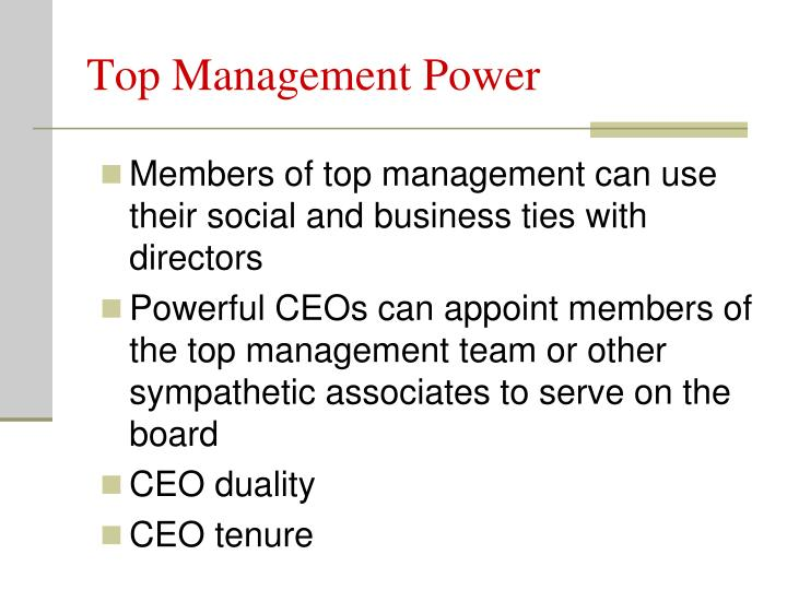 Top Management Power