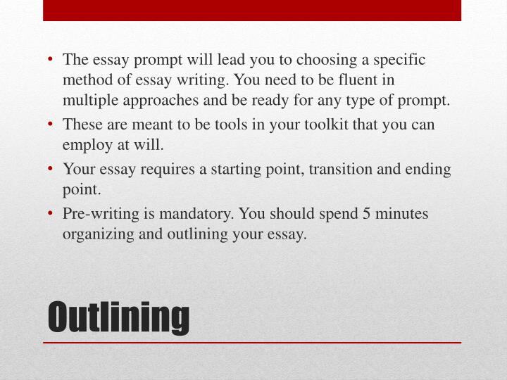 outlining an essay powerpoint Creating an argument outline although there is no set model of organization for argumentative essays, there are some common patterns that writers might use or that writers might want to combine/customize in an effective way.