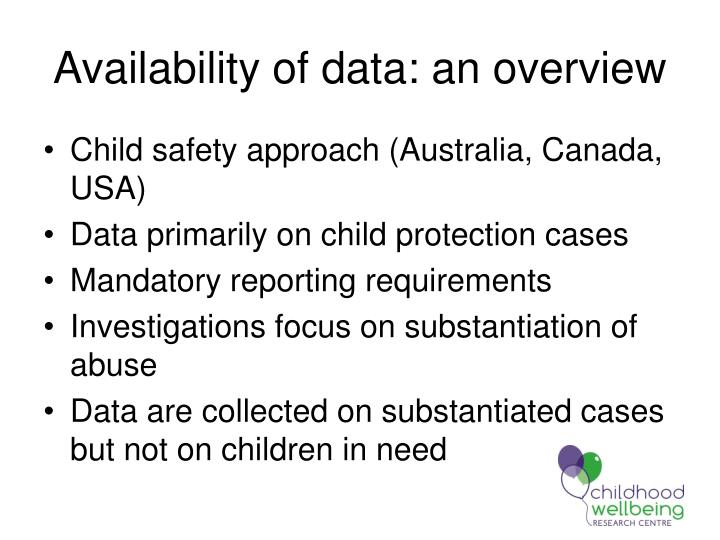 Availability of data: an overview