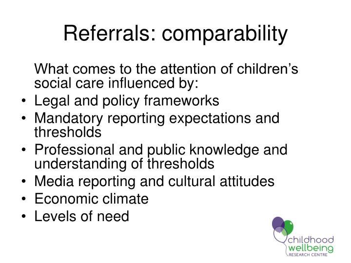 Referrals: comparability