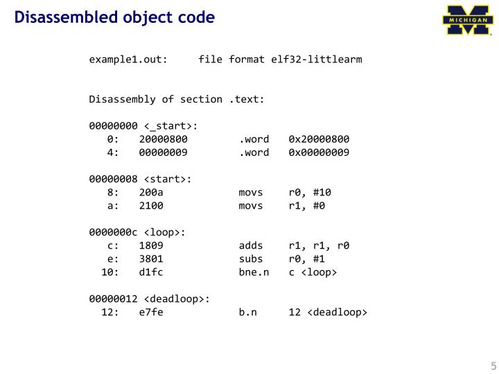 Disassembled object code