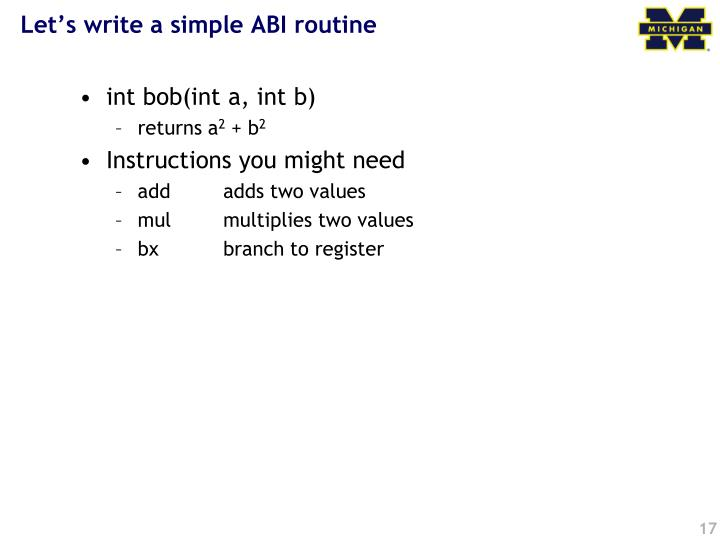 Let's write a simple ABI routine