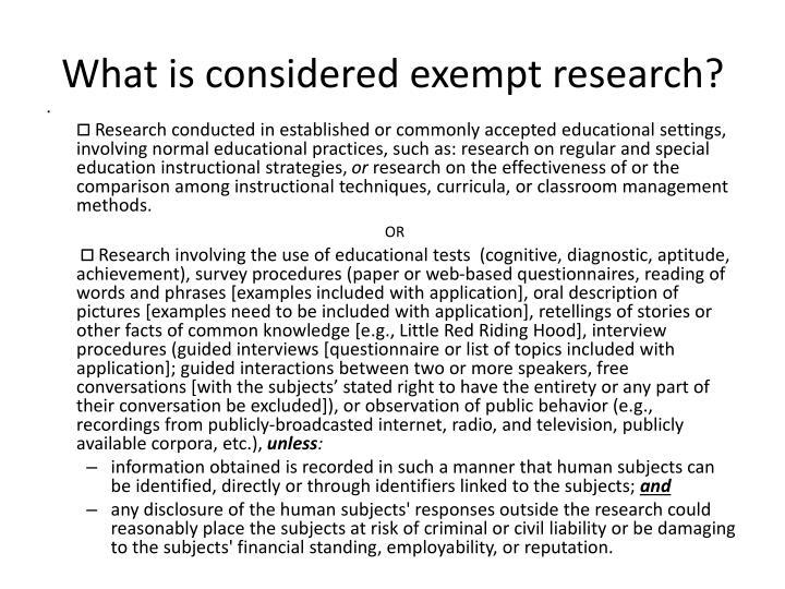 What is considered exempt research?