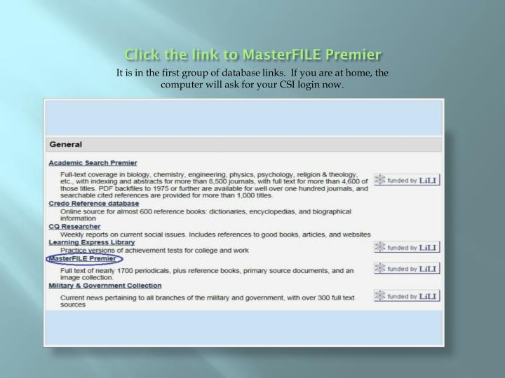 Click the link to masterfile premier