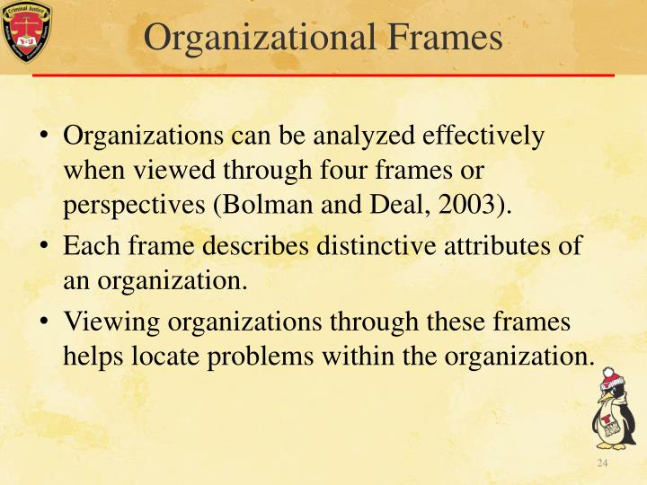 four frames of organization A four-frame approach to organizations, management, and good leadership work the authors present many real-life cases and organizational examples from the four different perspectives.