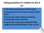 asking questions in relation to the 4 p s