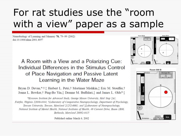 """For rat studies use the """"room with a view"""" paper as a sample"""