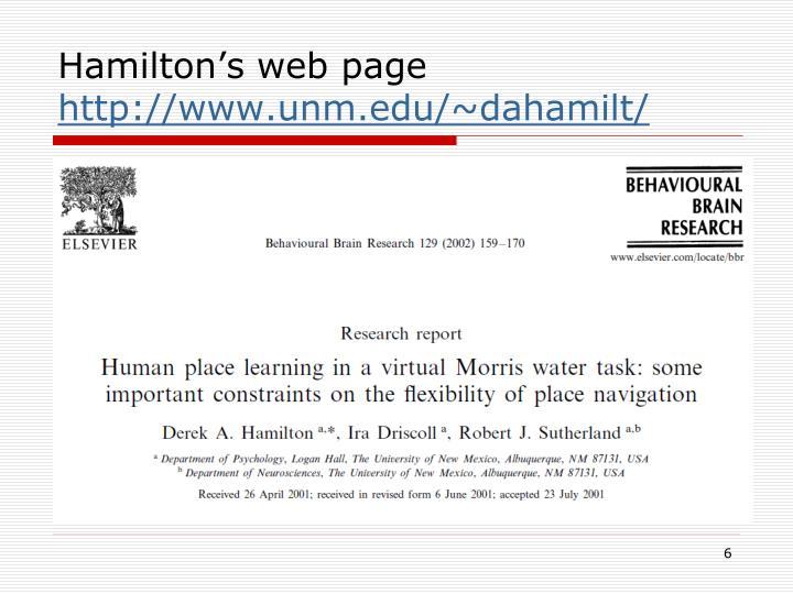 Hamilton's web page