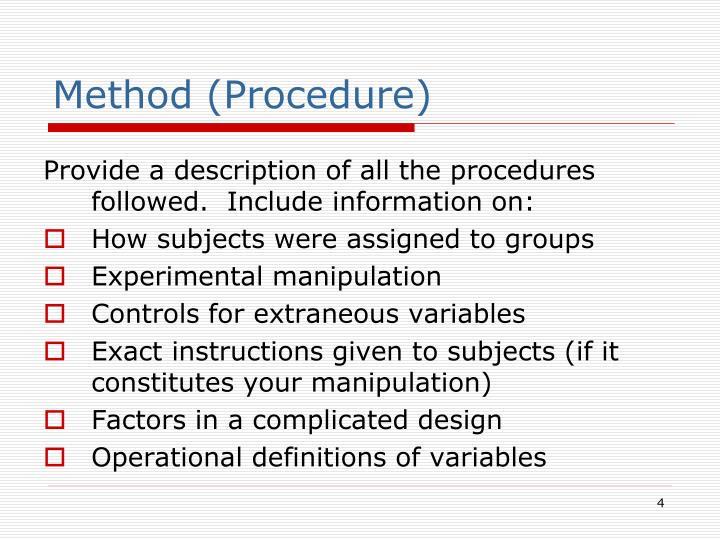 Method (Procedure)