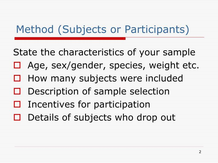 Method subjects or participants