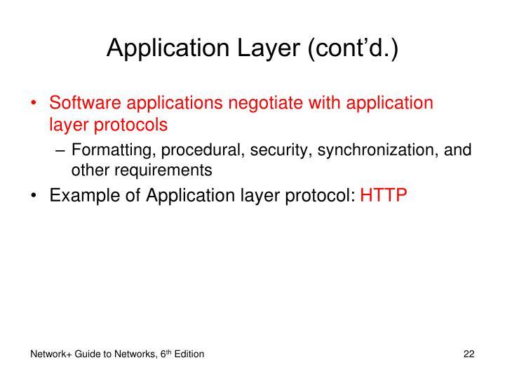 Application Layer (cont'd.)
