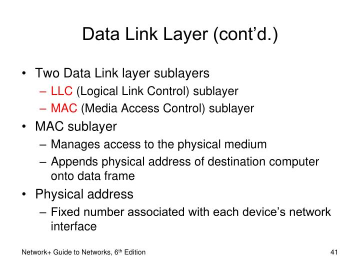Data Link Layer (cont'd.)