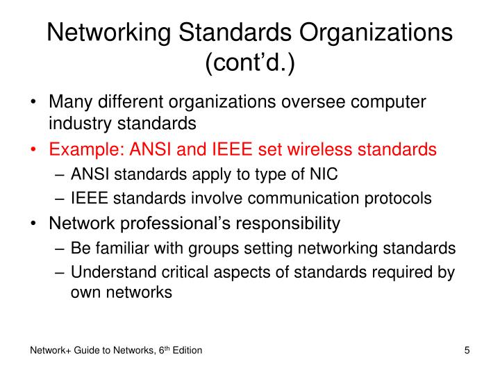 Networking Standards Organizations (cont'd.)