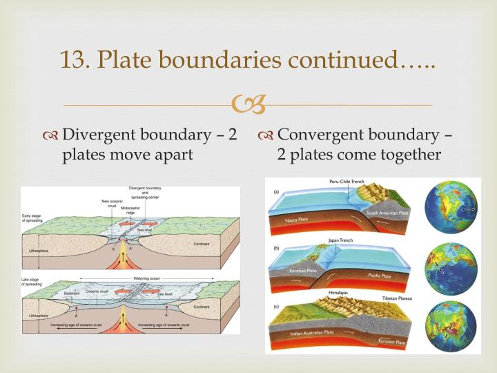 13. Plate boundaries continued…..